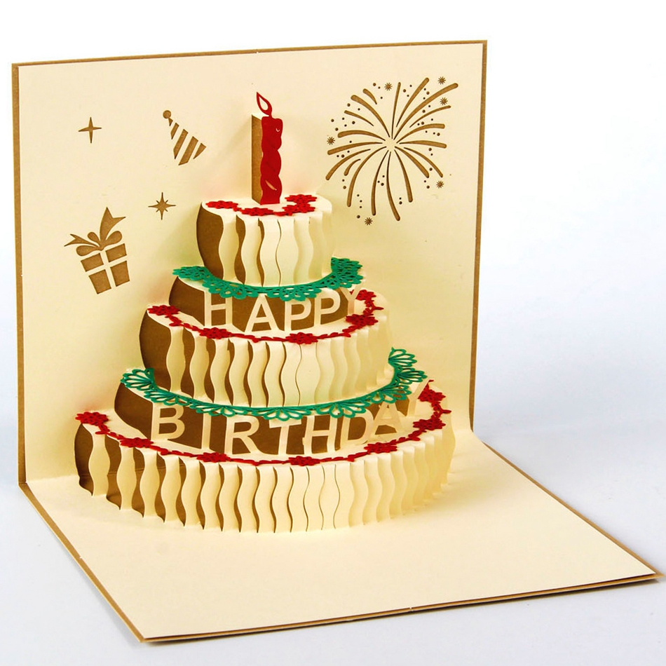 3D pop up handmade laser cut vintage cards Birthday cake with candle creative gifts postcard birthday greeting cards<br><br>Aliexpress