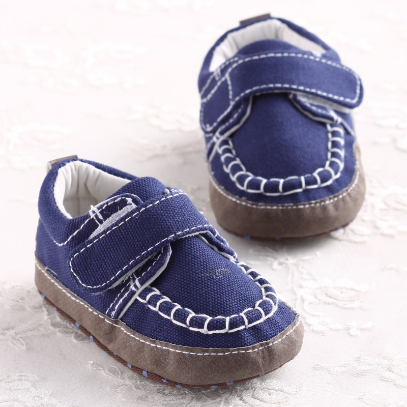 Toddler Baby boys Navy Oxford Cotton Moccasins First