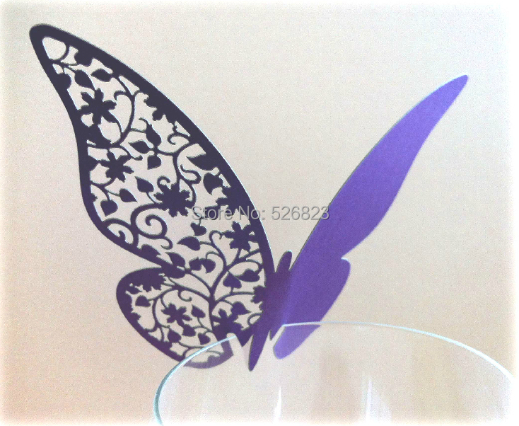 Laser Cut Butterfly Place Card party decorating glass escort paper card, goblet wineglass place card 200PCS/lot,free shipping(China (Mainland))