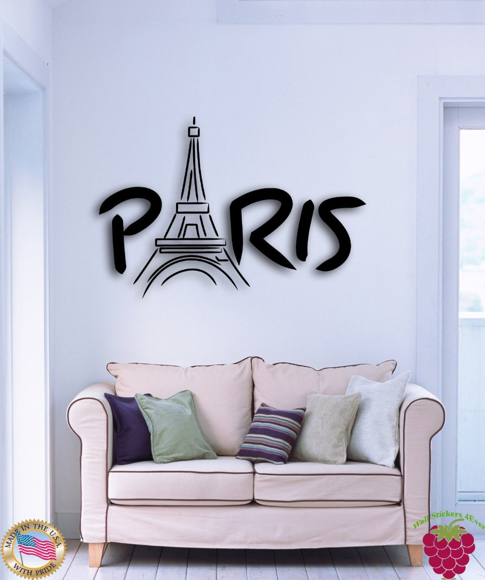 wall stickers vinyl decal paris eiffel tower france europe cool decor 22inx22in in wall stickers. Black Bedroom Furniture Sets. Home Design Ideas