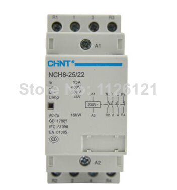 Free shipping Small household AC contactor NCH8 25 22 220 230V LED indicator CHNT