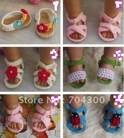 Summer Newborn Baby Crochet handmade Knitting Baby Booties cotton yarn sandals shoes Toddler walk(China (Mainland))