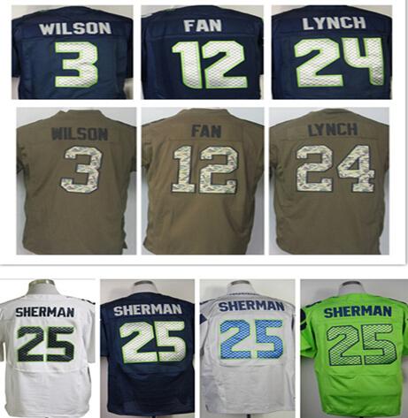 100% Cosido #88 Jimmy Graham jersey #3 Russell Willson jersey 24 Marshawn Lynch 25 Richard Sherman Elite Jersey tamaño: M ~ XXXL(China (Mainland))