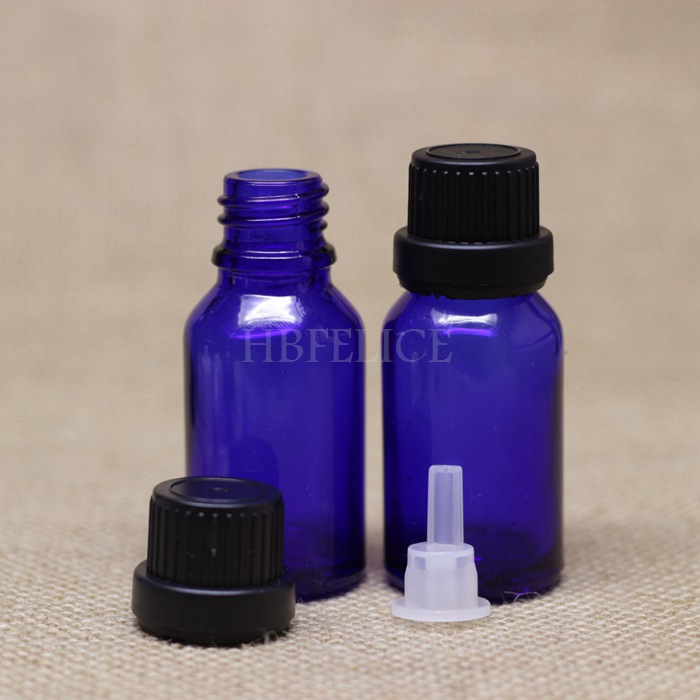 768pcs/LOT 10ml Blue glass bottles with Black Tamper Evident Cap Plastic plug(China (Mainland))