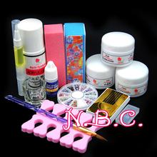 Newest Professional Acrylic Nail Kit 75ml Acrylic Liquid Glitter Powder Dust Nail Sets Brushes Cuticle Oil Nail Tools Set Kit(China (Mainland))