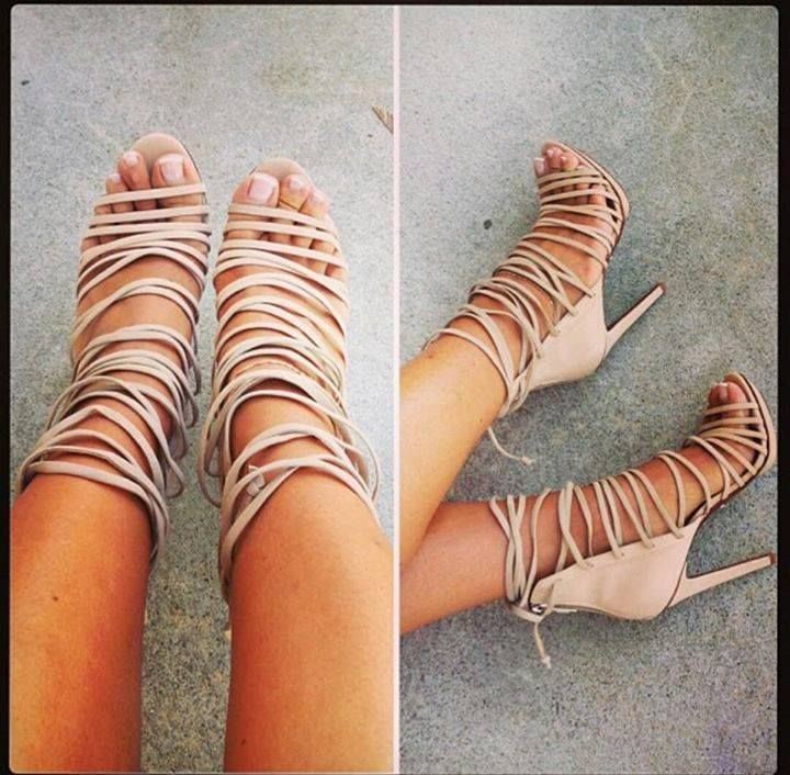 Summer Fashion woman beige brown high heeled sandals charming cross narrow band design cover heel open toe lace up female heels