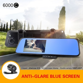 Car DVR 6000C Car Mirror Camera Full HD 720P Night Vision Allwinner A10 with G-sensor Motion Detection Rearview Camera Recorder