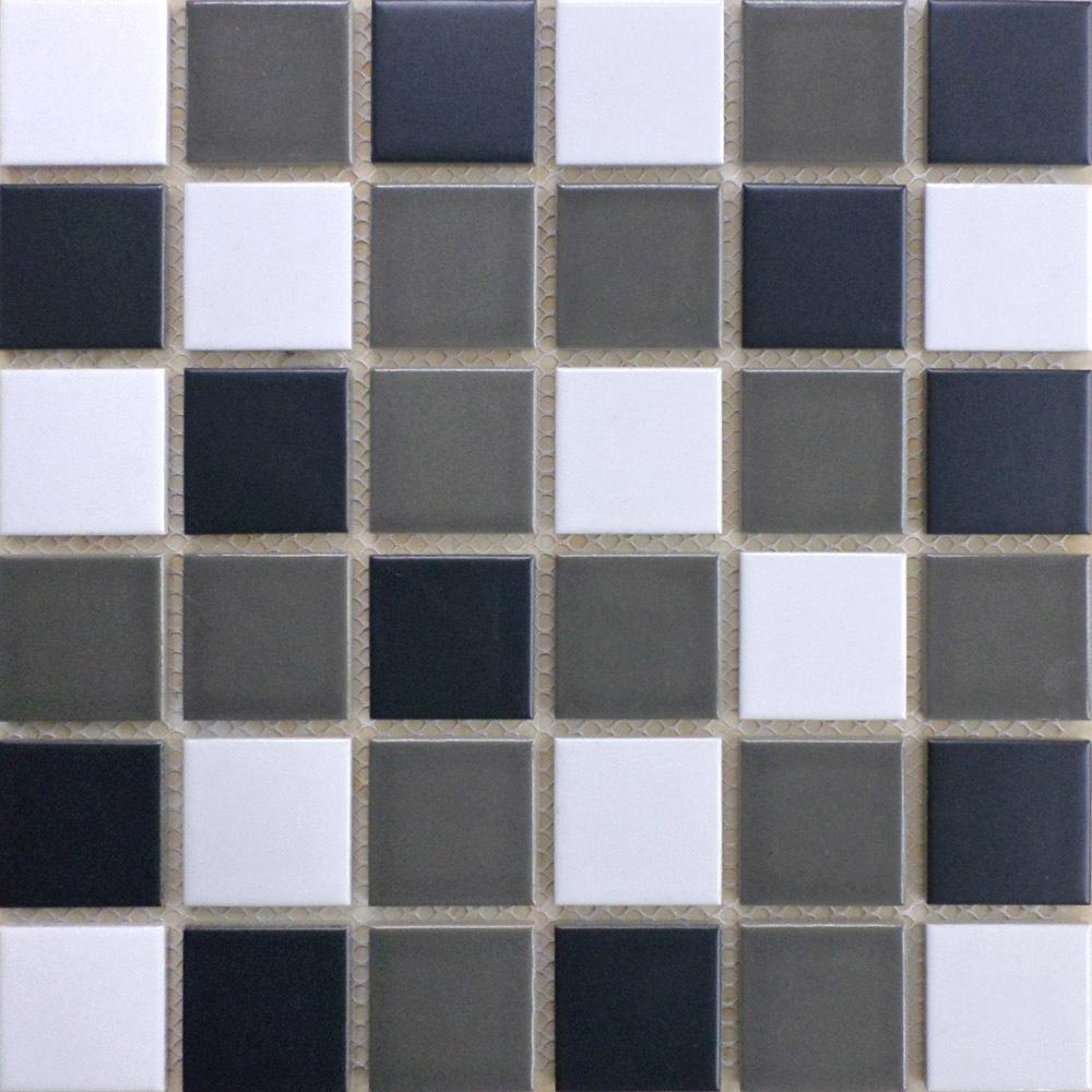 Buy mosaics tiles 2x2 matte ceramic tile Black and white ceramic tile