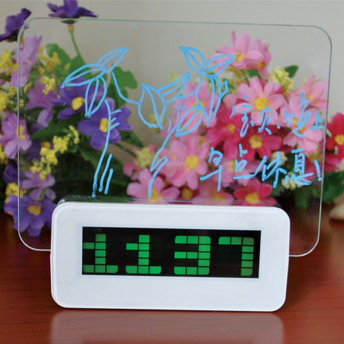 Free shipping!Creative luminous fluorescent message board lazy quiet electronic alarm clock LED birthday gift(China (Mainland))