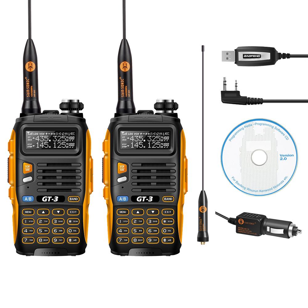 2 Pcs Baofeng GT-3 MarkII Dual-Band 2M/70cm 136-174/400-520MHz Ham Two-way Radio Walkie Talkie + Programming Cable&CD(China (Mainland))