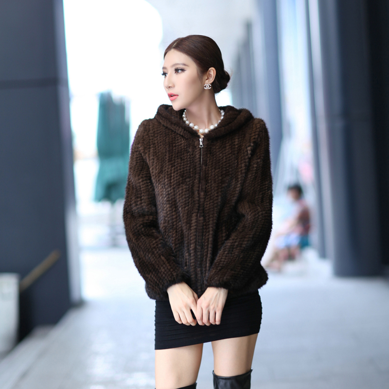 2014 Autumn and Winter Womens Genuine Knitted Mink Fur Jackets with Hoody Lady Warm Short Coats VF0123Одежда и ак�е��уары<br><br><br>Aliexpress