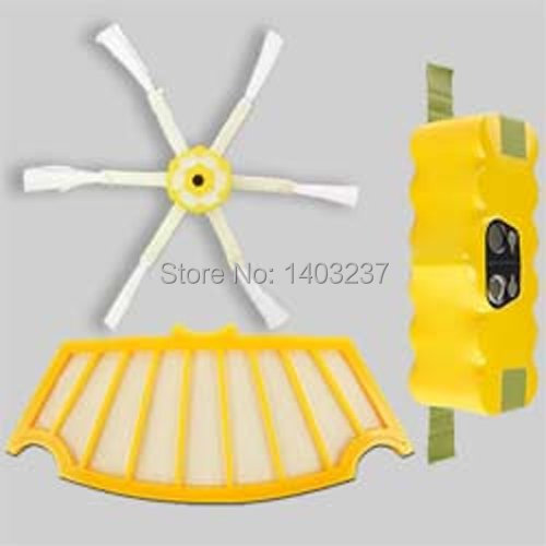 For iRobot Roomba 500 Vacuum Cleaner Accessory Kit Includes Battery,6-Armed Side Brush Filter For iRobot Roomba 500 Series(China (Mainland))