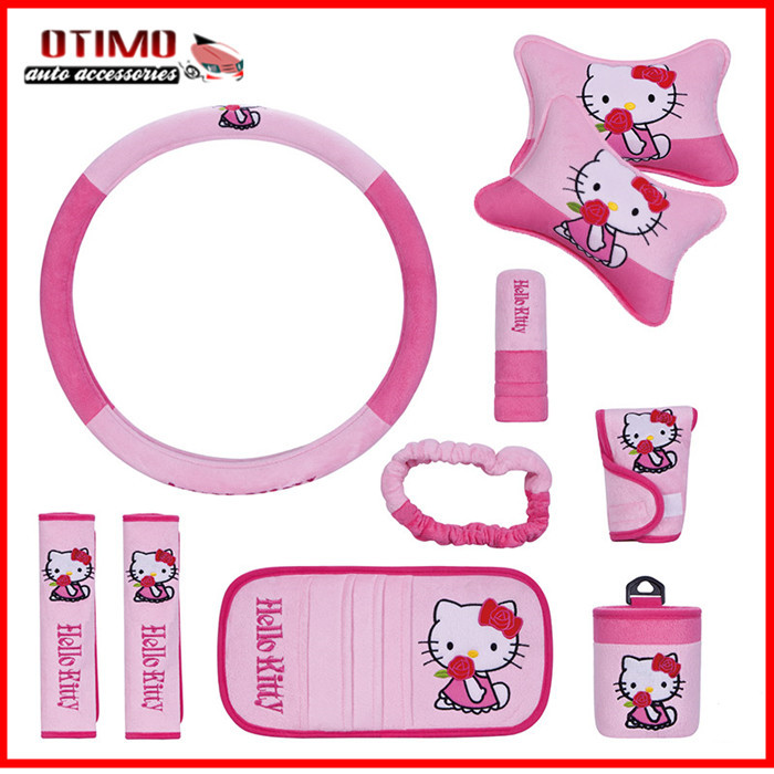 10 teile satz lustige hallo kitty auto for Housse de voiture hello kitty