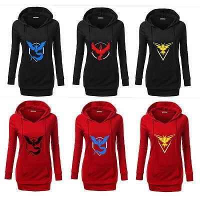 Pokemon Go Logo ash ketchum Team Valor/Instinct/Mystic Symbol Cosplay Costume Jacket Hoodie women(China (Mainland))