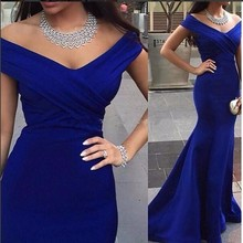 2016 Robe De Soiree Hot Sell V-neck Floor Length Women Mermaid Royal Blue Long Evening Dresses 2016 Back to product details(China (Mainland))
