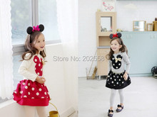 2015 Autumn Children Girl's 2PC Sets Skirt Suit baby Clothing sets dots girls dress clothes Christmas Costume(China (Mainland))