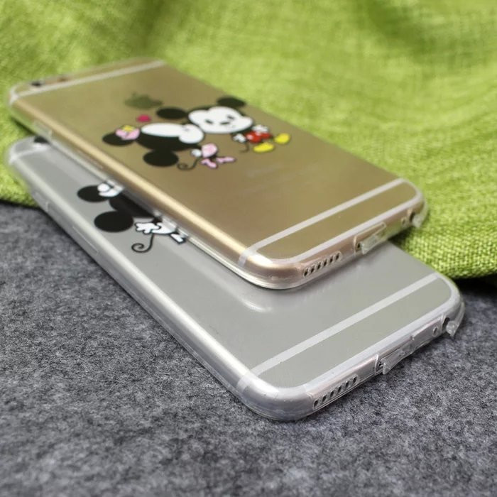 Ultra thin Cartoon Mickey Kisses Minnie Mouse Couples Love Clear Soft TPU Silicone Back Cover Case for iPhone 6 6s Plus