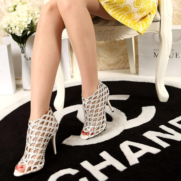 Shoes high-heeled shoes rhinestone cutout open toe shoe genuine leather thin heels fish spilliness banquet sandals(China (Mainland))