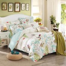 Svetanya Sheet Pillowcase Duvet cover set pastoral Bird printing Bedding sets queen double full Twin size Bedlinen 100% Cotton(China)