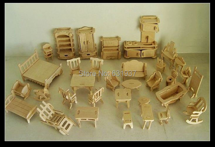 miniature wooden dollhouse furniture. Free-Shipping-DIY-Mini-Furniture-34pcs-set-Kids- Miniature Wooden Dollhouse Furniture S
