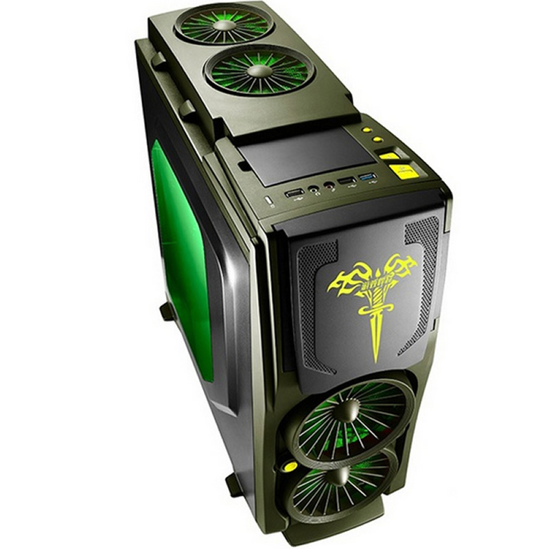 Game Computer case Army Green, 120mm fan *5, 7 PCI slots, USB3.0, Free Tools, game case, gamer computer, Game Titans Blade3(China (Mainland))