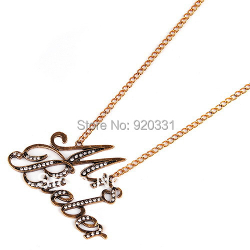 Min order usd15.0(mix order) Vintage Justin Bieber Mrs Words Pendant Necklace - Emily Fashion Store store