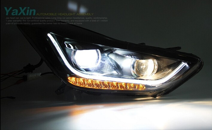 Auto Clud 2011-2014 For Hyundai elantra headlights LED DRL car styling light guide H7 elantra head lamps Q5 bi xenon lens parkin
