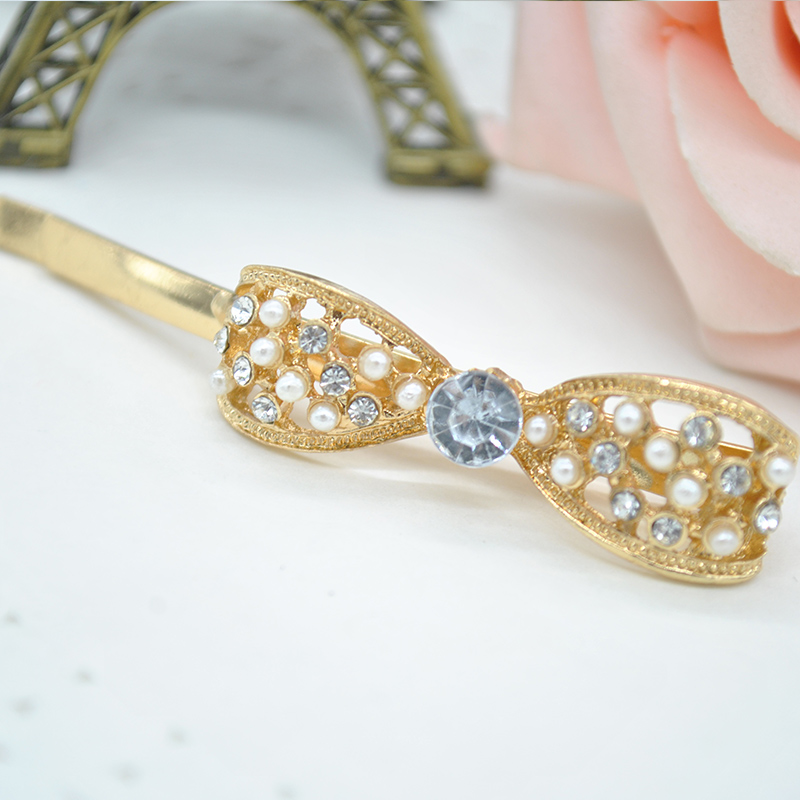 Beauty Rhinestone Crystal Bowknot Barrette Wedding Hair Accessories 2015 Hairpin Hair Clip Gold Fine Jewelry PSS0316W*50(China (Mainland))