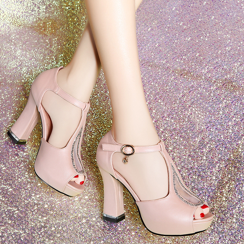 Open toe shoe womens sandals 2015 summer gladiator platform thick heel high-heeled shoes women elegant revit shoes<br><br>Aliexpress