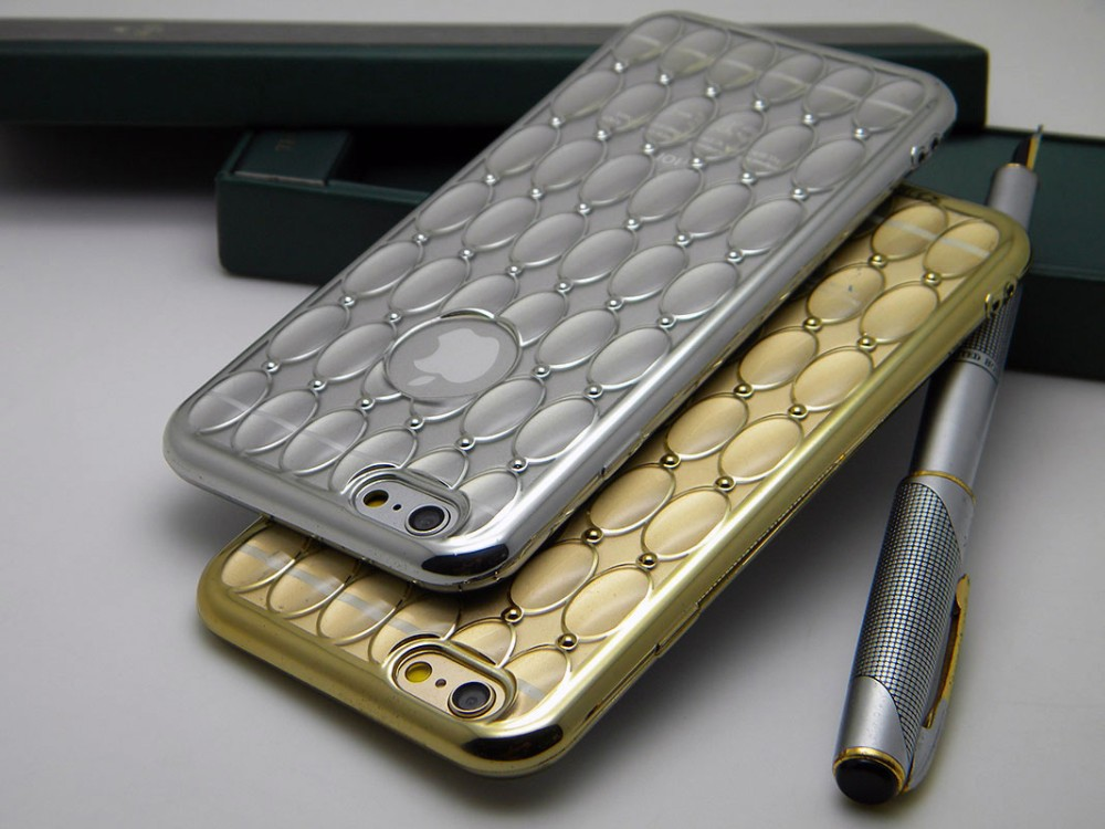 case for iPhone 6 6S 4.7inch plating gold stamping design silicone TPU rubber soft clear skin cover case