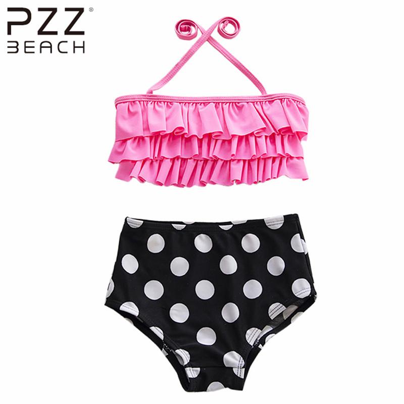 Cake Layer Dot Swimsuit Children's Swimwear Girls Split Bikinis Set High Waist Halter Two Pieces Bathing Suits Monokini Baby Kid(China (Mainland))