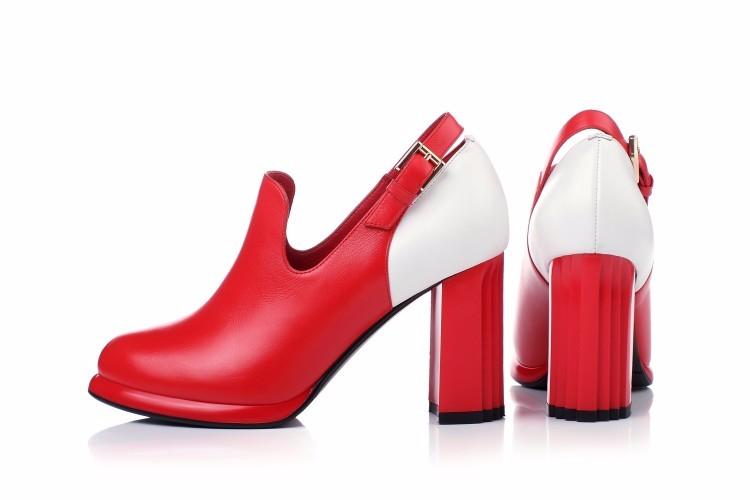 WRCIBOR  2017 NEW Women's shoes Genuine leather Platform Round Toe High heels Female Fashion Comfortable Thick heels Pumps