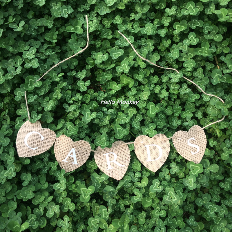 Free shipping 1.25m CARDS Love Heart Mini Hessian Burlap Banner Rustic Wedding Bunting Banner Party Favors(China (Mainland))
