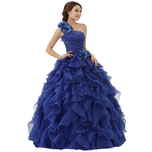 New Arrival Evening Dress Ball Gown One Shoulder Ruffle Rhinestone Evening Gown Prom Dresses Vestido De Festa Longo AZP028(China (Mainland))