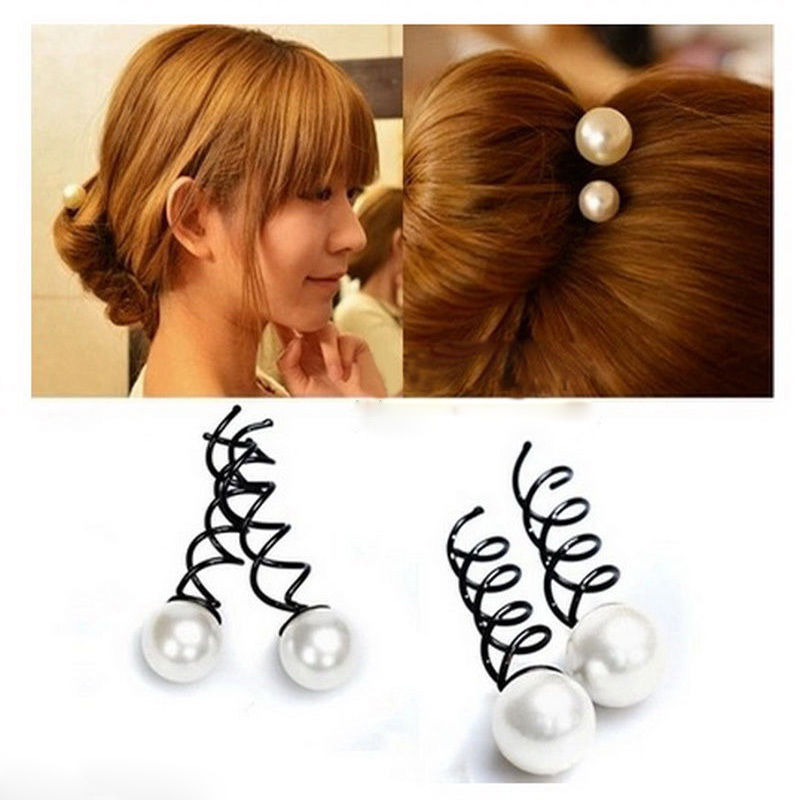 New Fashion Women Girl Pearl Spiral Barrette Spin Screw Pin Elegant Twist Hair Clip(China (Mainland))