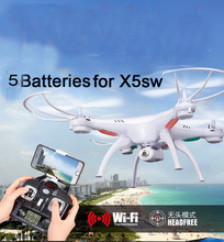 5 Batteries SYMA X5SW / X5SW-1 WIFI RC helicopter fpv Quadcopter with 2MP Camera Headless 6-Axis Real Time RC drone Quad copter(China (Mainland))