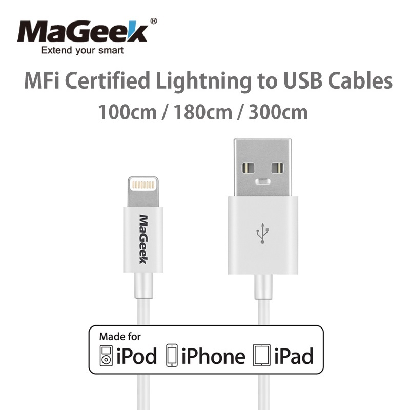 MaGeek Original 1m 1.8m 3m MFi 8 Pin Lightning to USB Cable Data Sync Charger for iPhone 6 6s 5s iPad 4 mini Air iOS 8 9 10(China (Mainland))