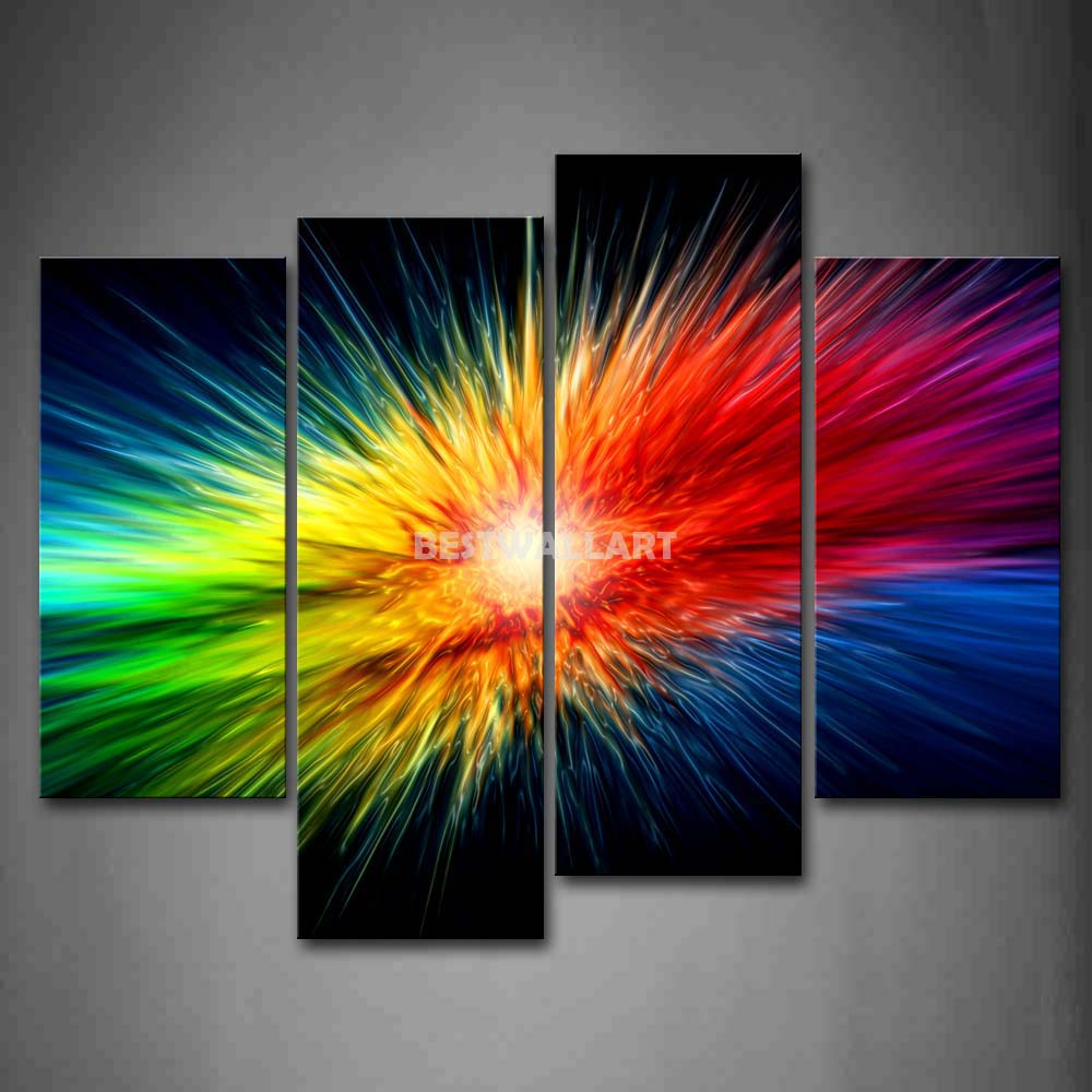 Colors explode colorful 4 piece painting on canvas wall for Colorful kitchen wall art