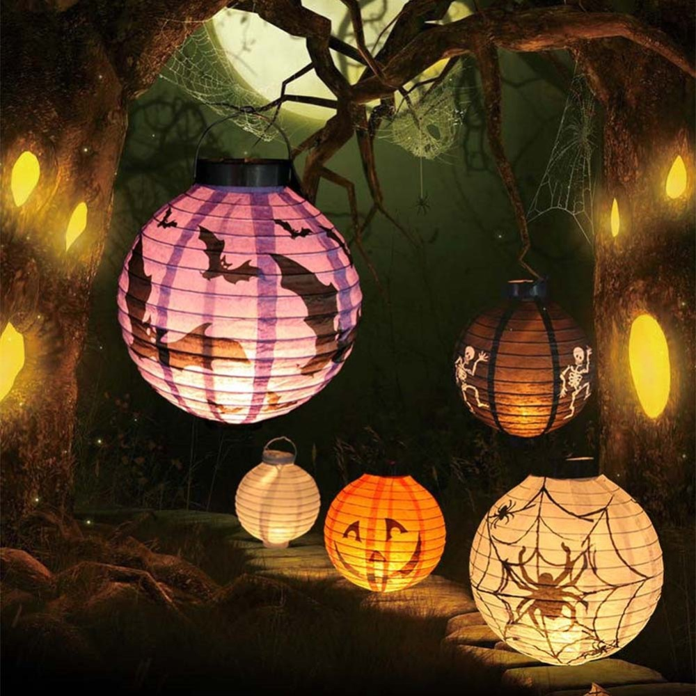 2015 Hot sale New Halloween LED Paper Pumpkin Hanging Lantern DIY - Holiday Party Decor Scary(China (Mainland))