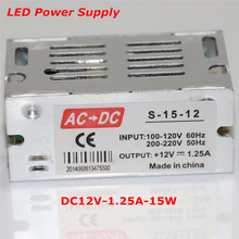 Factory Price Wholesale 12V 1.25A 15W Switching Power Supply Led Driver Power Adapter For LED Strip Light Display Free Shipping(China (Mainland))