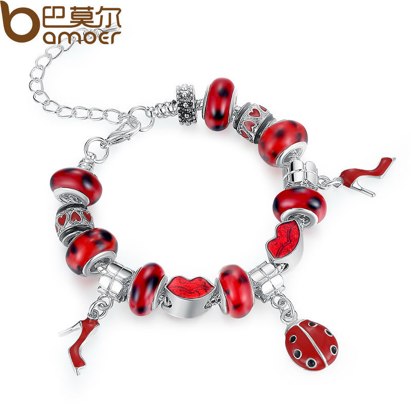 Aliexpress Hot Sell Fashion European Style 925 Silver Charm Bracelet for Women With Murano Glass Beads DIY Jewelry PA1198<br><br>Aliexpress