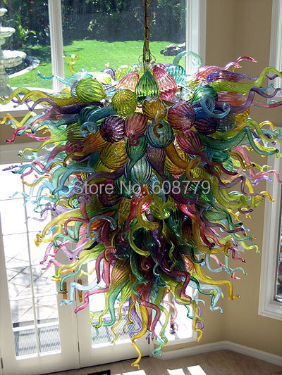 Free Shipping Multi Colored Murano Glass Vintage Chandelier(China (Mainland))
