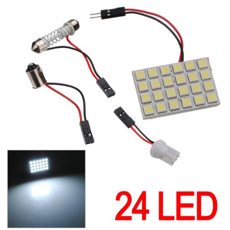 1/2 Set T10 BA9S Festoon Adapters 24 SMD 5050 LED Light Car Auto Reading Panel Interior Dome Lamp DC12V(China (Mainland))