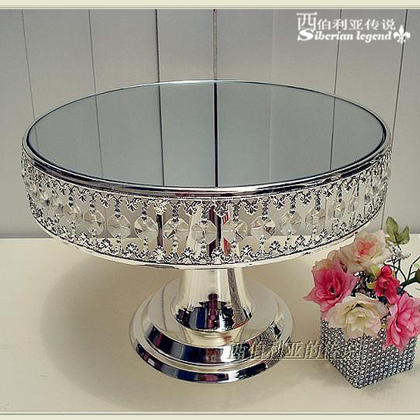 Cake Stand Home Decor : Crystal pendant silver plated cake plate fruit plate ...
