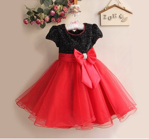 Chirstmas Kids Girl Dress Red Black Children Party Dress For Summer Clothing 6pcs/LOT Wholesale Infant Garmemt GD11116-01B^^EI