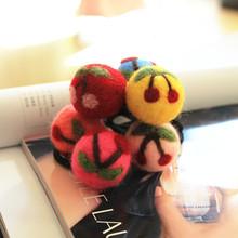 Korea import handmade wool felt Cherry ball hair ring hair rope wholesale hair accessories for women girl children Free Shipping