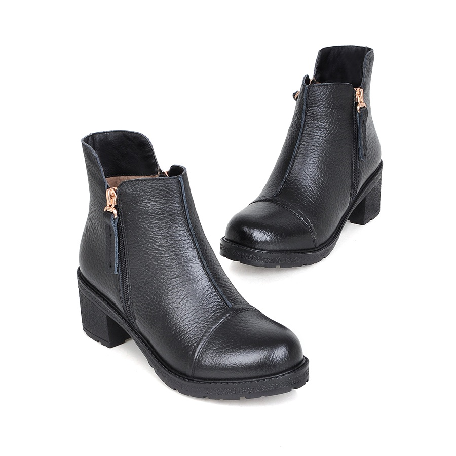 2016 women boots thick heel ankle boots women fashion simple Genuine Leather motorcycle boots Black