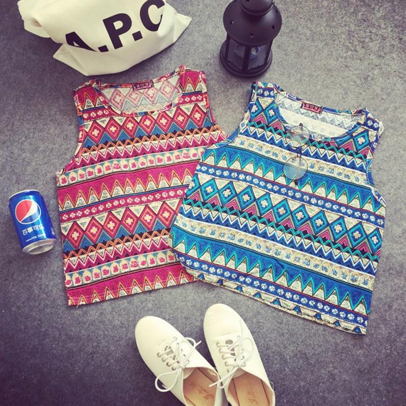 2015 New Geometric Pop Design Print Women Sleeveless Retro Vintage Tank Tops Ethnic Linen Shirt Summer Style Beach Wear T57322(China (Mainland))