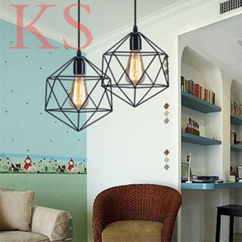 LOFT Vintage pendant lamp Wrought warehouse iron pendant light fixture polygon diamond chandeliers  shop<br><br>Aliexpress