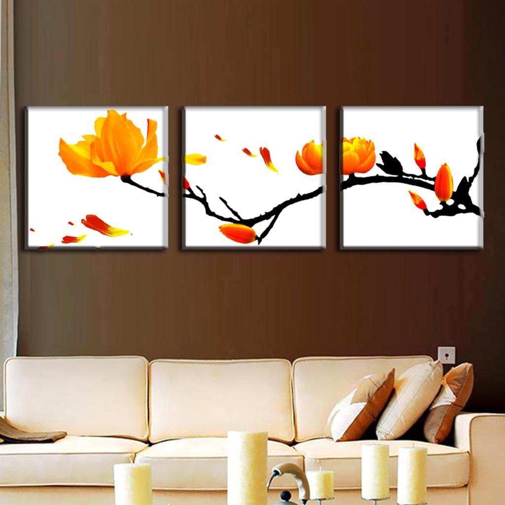 3 Pcs Set Modern Wall Paintings Framed Flower Oil Painting On Canvas Classic Blooming Branches